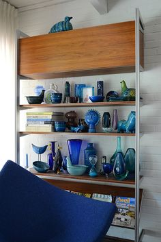Gorgeous 1950s - 1960s blue glass and ceramics display