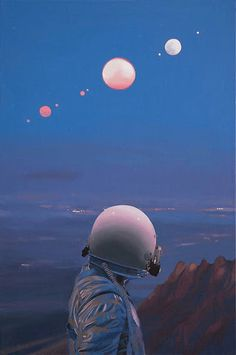 Paintings of Astronaut in Unusual Scenes