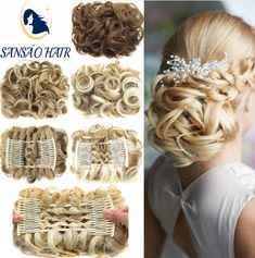 Hairpiece Extension Hair Bun Updo Cover Messy Rose Hair Scrunchies Synthetic Hair Pieces Large Comb Clip In Curly Chignon Curly Bun Hairstyles, Curly Hair Updo, Curly Hair With Bangs, Ombré Hair, Rose Hair, Long Curly Hair, Curly Hair Styles, Natural Hair Styles, Beehive Hairstyle