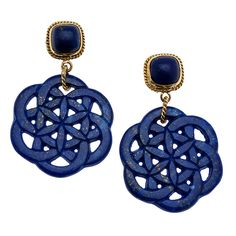 Carved Lapis Lazuli Earrings | From a unique collection of vintage drop earrings at https://www.1stdibs.com/jewelry/earrings/drop-earrings/