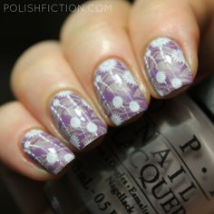OPI Taupe-less Beach with double stamping nail art