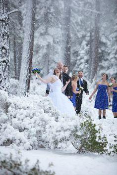 Beautiful snowy winter wedding photo l TahoeDestinationWeddings.com