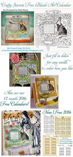 Get this Color Me Blank Art Calendar - Plus Four 12 Month Calendars in white, buff and aged. Also see Inspiring Calendar Ideas and GET FULL SIZE FILES with link to Blog.