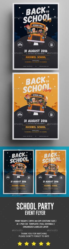 School Party Flyer Template PSD, AI Illustrator. Download here: https://graphicriver.net/item/school-party/17296288?ref=ksioks