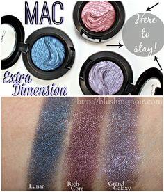 MAC Lunar, Rich Core, Grand Galaxy Extra Dimension Eye Shadow Swatches Mac Dupes, Makeup Swatches, Makeup Tools, Hair Dos, Eye Shadow, Makeup Inspiration, Hair Makeup, Core, Make Up