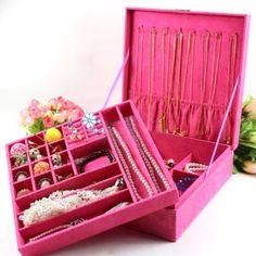Amazon.com - KLOUD ® Hot Pink two-layer lint jewelry box organizer display storage case with lock