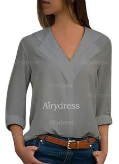 Casual Elegant Solid Long Sleeves Chiffon V-Neck Knit Blouses, veryvoga Chiffon, V Neck Blouse, Chic, Casual Outfits, Pullover, My Style, Long Sleeve, Womens Fashion, How To Wear