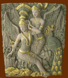 Wall carving decoration, Khmer angel style