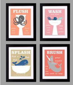 Choose your colors Kids Bathroom Print - Kids Bath Wall Art - Bathroom Rules - Customized Colors Nautical Childrens Bathroom Print - Wash Flush Brush Splash Childrens Bathroom, Bathroom Kids, Kids Bath, Ocean Bathroom, Bathroom Stuff, Design Bathroom, Bathroom Prints, Bathroom Artwork, Bathroom Colors