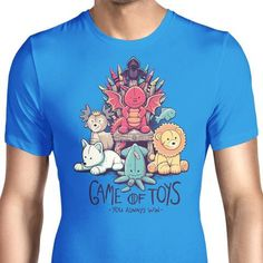 Cute little stuffed animals representing the different houses of Game of Thrones on this men's T-Shirt.