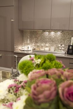 sparkly kitchen backsplash! in my dream kitchen. Actually if I had things my way EVERYTHING would sparkle.