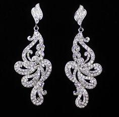 Wedding Bridal Jewlery Earrings, Crystal Chandelier Earrings, Rhinestone Bridal Accessories LAUREL- NEW DESIGN. $71.00, via Etsy.