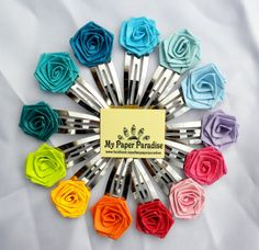 Quilled rose hair clips  hand crafted hair by Herpaperparadise
