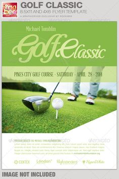 This Golf Classic Event Flyer Template is sold exclusively on graphicriver. It is great for any type of Golf Charity Event or any event that needs a modern Flyer template for marketing their services.