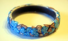 Bangle with roses and leaves - Polymerclay by KVJ