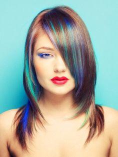 Bayan Renkli Saç Modelleri Hair Color Streaks, Red Streaks, Blue Hair, Hair Color Blue, Cool Hair Color, Brown Hair, Colored Hair, Pastel Hair, Dyed Hair