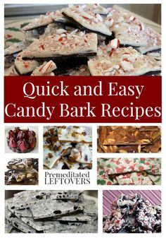 Quick and Easy Candy Bark Recipes- If you are a fan of candy bark, here is a wide array of bark recipes to try. Candy bark makes a great food gift! Homemade Candies, Homemade Desserts, Mini Desserts, Holiday Desserts, Holiday Treats, Delicious Desserts, Yummy Food, Baking Desserts, Fudge Recipes
