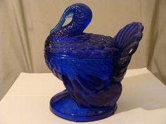 Vintage Tiara Exclusive Indiana Glass Cobalt Blue Turkey Candy Dish