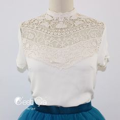 New to CestCaNY on Etsy: Kayla Ivory Crochet Lace Blouse Vintage Inspired Chiffon Shirt Top w/ Cap Sleeves (29.00 USD)
