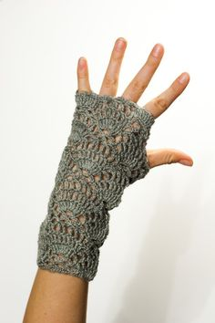 PDF CROCHET PATTERN Gloves - Flower for the Wind Chaser - grey fingerless lace hand warmers. $4.99, via Etsy.