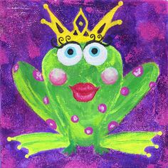Frog Princess Painting Purple Green Fun by PolychromesPalace, $70.00