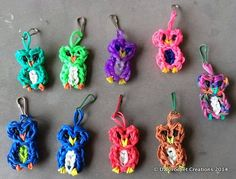 New Colors Added Rainbow Loom Owl Charm  Zipper Pull  Charm  Rubber by HandMadeByDz, $4.00