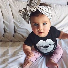 Black Lip Prints Top With Smile Eyes Prints Pants Summer Girls Lovely Stylish Children Summer 2pcs Set suit for girls Outfits