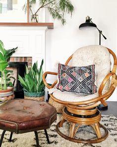 New rattan swivel chair • Follow Dabito for more interior inspirations.