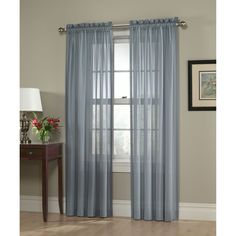 Jaclyn Smith Slate Blue Georgette Semi Sheer Window Panel
