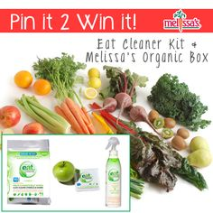 We teamed up with Mareya Ibrahim and @Mareya Ibrahim for this month's Pin-it-2-Win-it! Follow our boards & RE-PIN this pin for a chance to win a Melissa's Organic Box AND Eat Cleaner Wipes & Wash delivered to your home! There will be 3 Winners!!