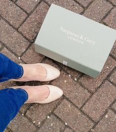 Nicola wearing her Sargasso and Grey court shoes for wider feet. Very comfy!