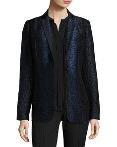 ELIE TAHARI LEOPARD-PRINT ONE-BUTTON BLAZER, BLACK/BLUE. #elietahari #cloth #