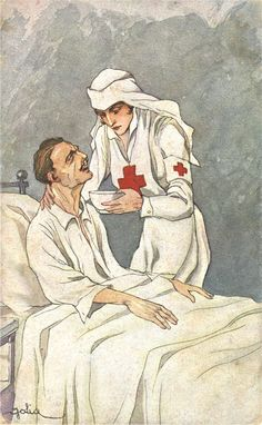 An illustration of a nurse helping a patient eat soup, ca. Pictures of Nursing: The Zwerdling Postcard Collection. National Library of Medicine
