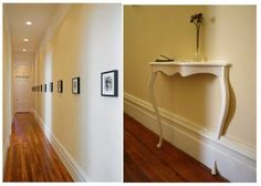 Like the floors, white trim, buttery yellow paint, line of small black and white framed prints