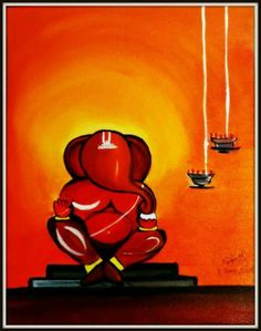 Lord Ganesha Paintings, Ganesha Art, Lily Painting, Acrylic Painting Canvas, Painting Art, Indian Contemporary Art, Modern Art, Mallow Flower, Diwali Craft