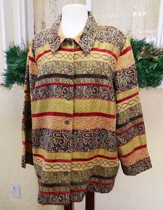 Alfred Dunner Chenille Striped Paisley Tapestry Jacket 22W Pretty Fun Multi Plus #AlfredDunner #BasicJacket