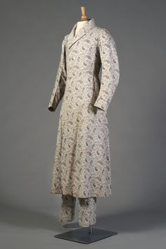 Man's Leisure Ensemble. American or European, ca. 1840. Long Coat and trousers of white cotton with mauve paisley print. Silverman/Rodgers Collection, KSUM 1983.1.58ab