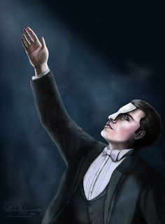 """Music of the Night"" by me. Ivan Ozhogin as Phantom from the Russian production of the musical ""The Phantom of the Opera"". Digital painting, Adobe Photoshop CS4. Full view, pls."