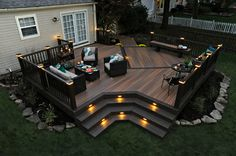 Awesome Trex Decking With Outdoor Wicker Sofa And Sweet Outdoor Beautiful Surround By Small Pond