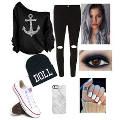 black beauty by aulonamx on Polyvore featuring polyvore Mode style Dorothy Perkins Converse Uncommon