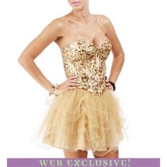Kennalee-Gold Homecoming Dress ($49) ❤ liked on Polyvore