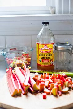 "Have you ever made a ""Shrub""? The rhubarb shrub is a great way to preserve rhubarb with vinegar, letting it get more flavorful and complex over time.....use the shrub in cocktails or add to sparkling water for a refreshing rhubarb flavored drink! 