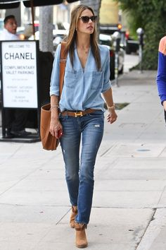 Alessandra Ambrosio.. denim and brown..