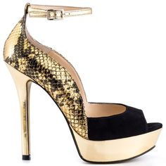 Time to show them what you're made of in the Takeko!  This Enzo Angiolini sandal showcases snake print siding, metallic strap and 5 inch heel.  A black suede is featured at the peep toe vamp while a mirrored gold material wraps the 1 inch platform.