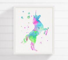 Unicorno dell'acquerello pittura, stampa artistica Unicorn, Unicorn Poster, ragazze Camera Decor, Baby Girl scuola materna, bambini camera Wall Art, decorazione della parete della scuola materna