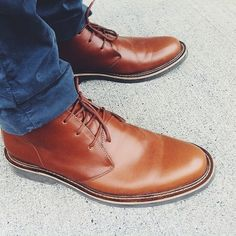 Chukka Boots. Men who wear brown shoes, or classy polished shoes with casual outfits are the most attractive men, in my opinion.
