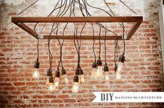 DIY hanging lightbulb chandelier. Photo by Krista Mason