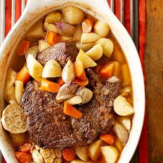 For Sunday dinner, try this tender Oven Pot Roast with sweet potatoes, carrots, and parsnips. More of our best pot roast recipes: http://www.bhg.com/recipes/beef/roasts/pot-roast-recipes/?socsrc=bhgpin102213potroast