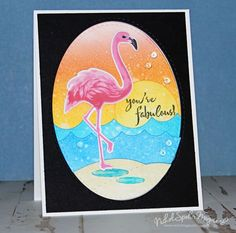 handmade card ... bright neon colors ... flamingo ... luv how the back mat makes the colors pop ...