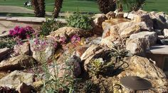 Waterfall created by Ponderiffic Landscape Design and Construction in Cherry Valley, CA. #WaterfallWednesday